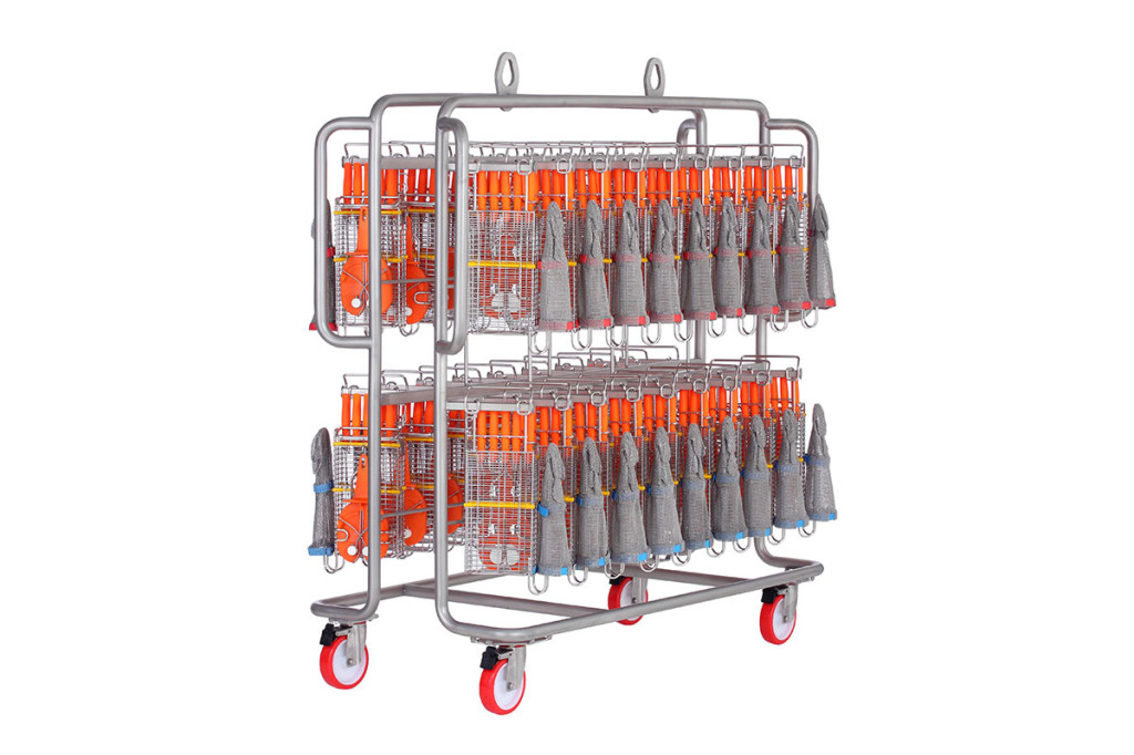 Trolley for cleaning machine 22580 with knife holder and safety gloves