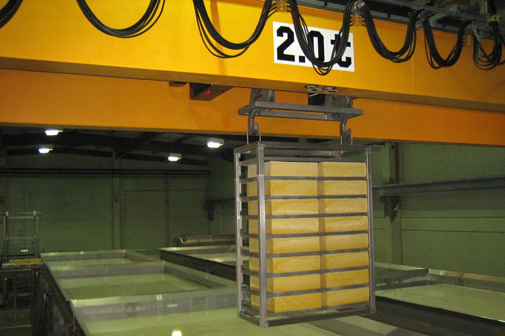 Salt bath system with crane system