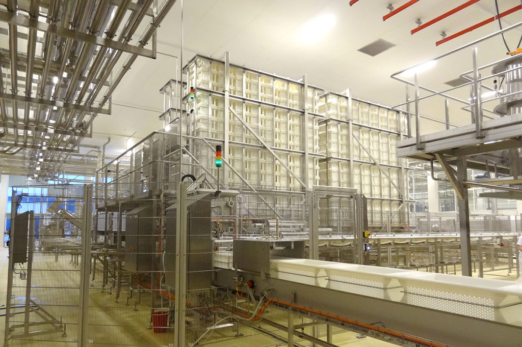 Semi-hard cheese production Empty mould storage