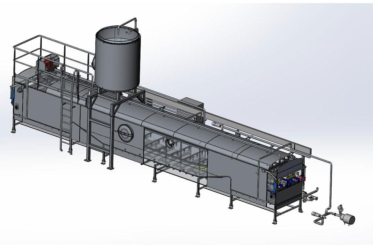 Semi-hard cheese production Ultrasound washing machine