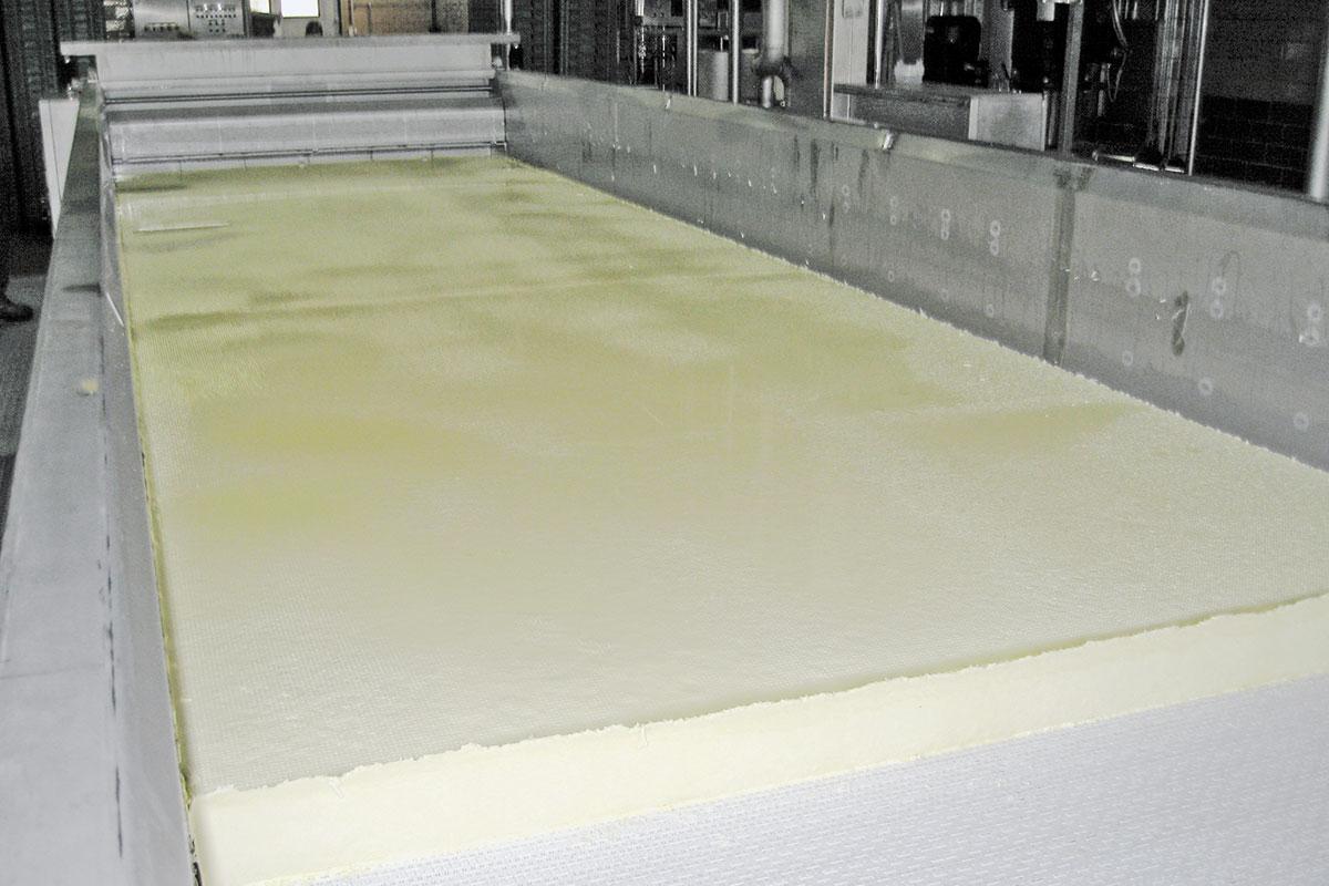 Semi-hard cheese production Pre-press pan cheese bed